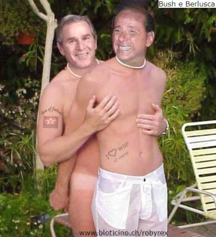 Berlusconi e Bush in un fake trovato su internet.